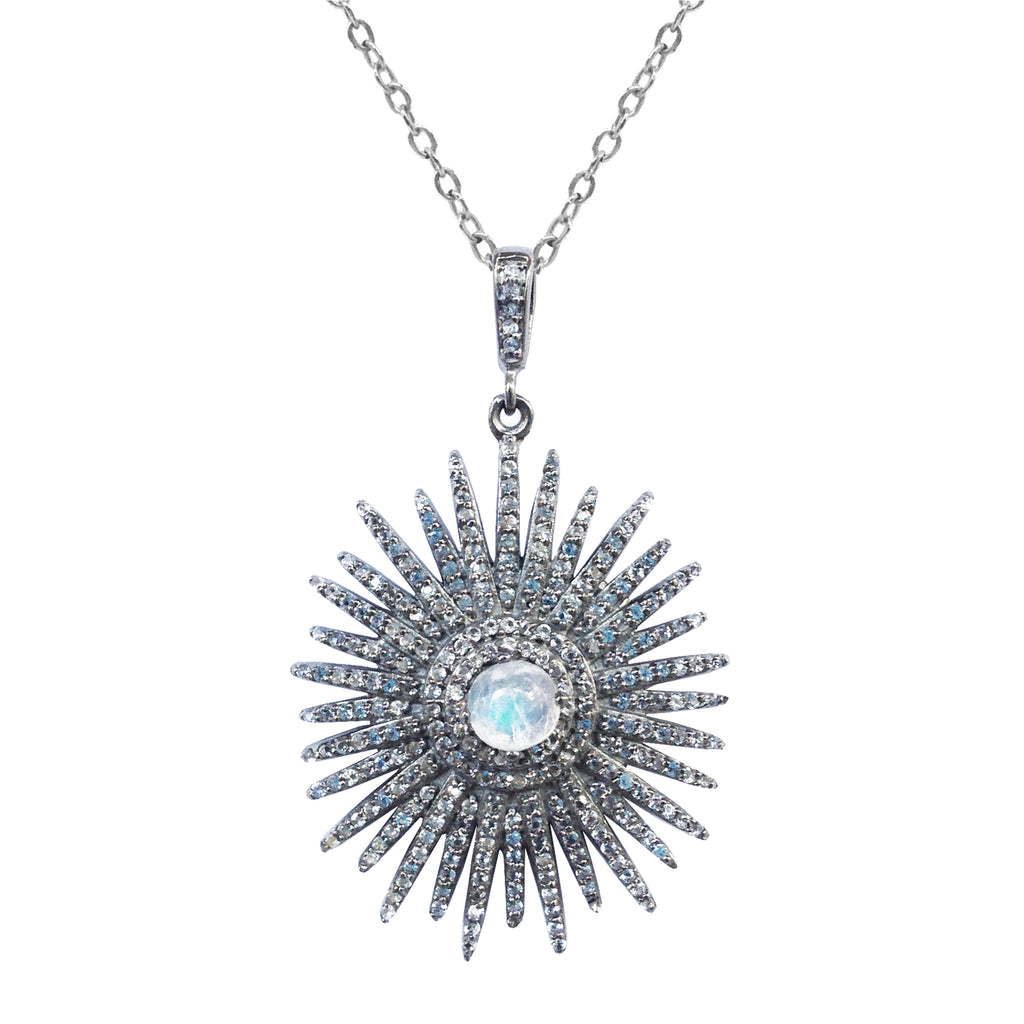 Large Moonstone Starburst Necklace, Necklaces - Luna Lili Jewelry