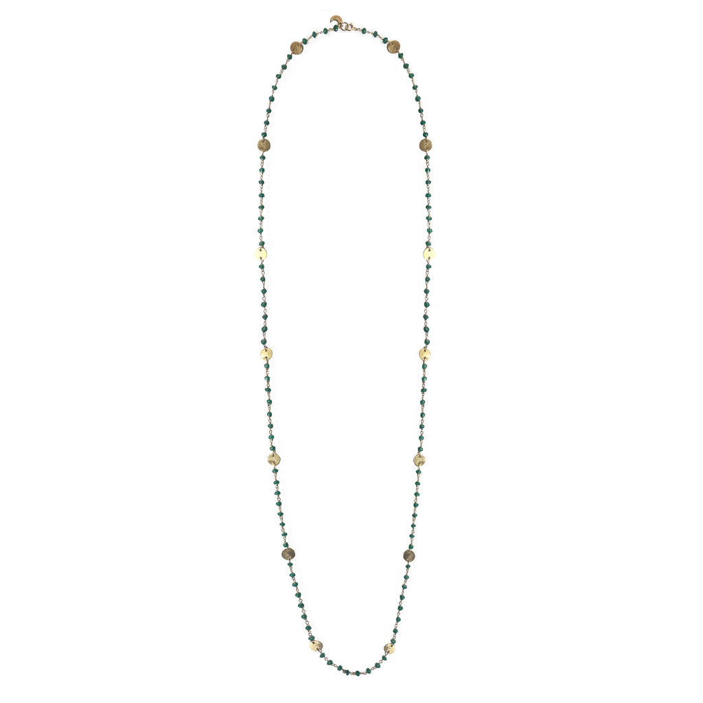 Green Onyx Long Necklace with Gold Discs, Necklaces - Luna Lili Jewelry