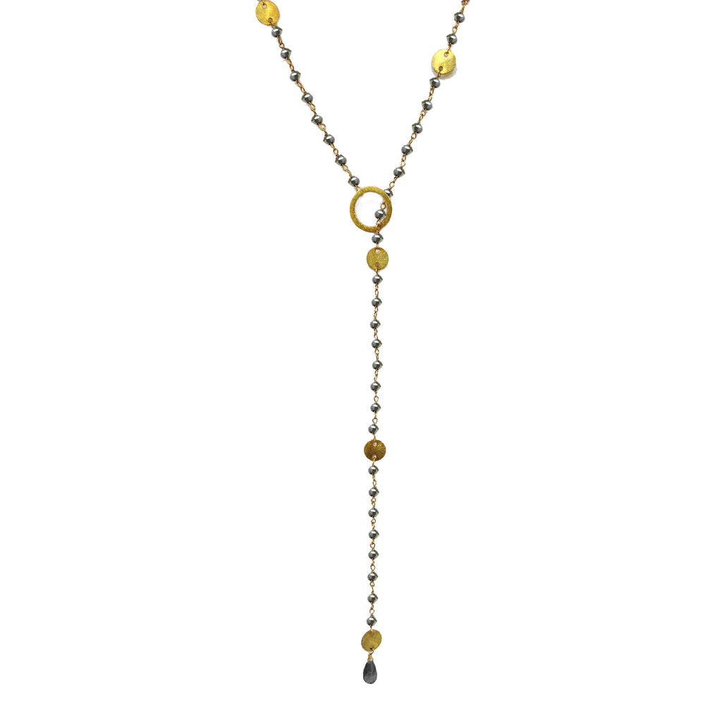 Hematite & Gold Disc Lariat Necklace, Necklaces - Luna Lili Jewelry