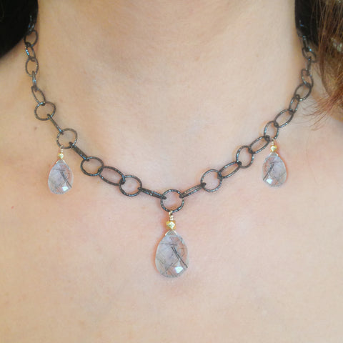 Herkimer Diamond Cradle Necklace