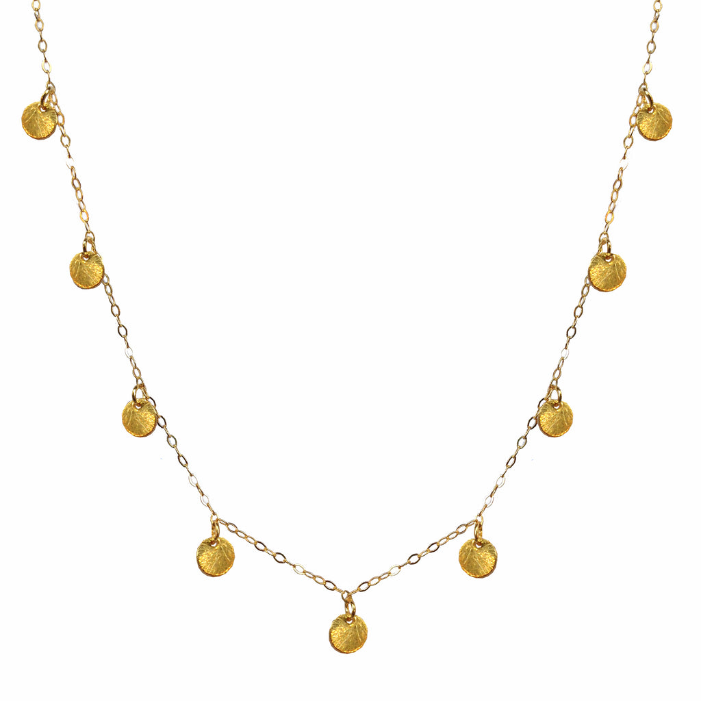 Textured Gold Disc Necklace , Necklaces - Luna Lili Jewelry