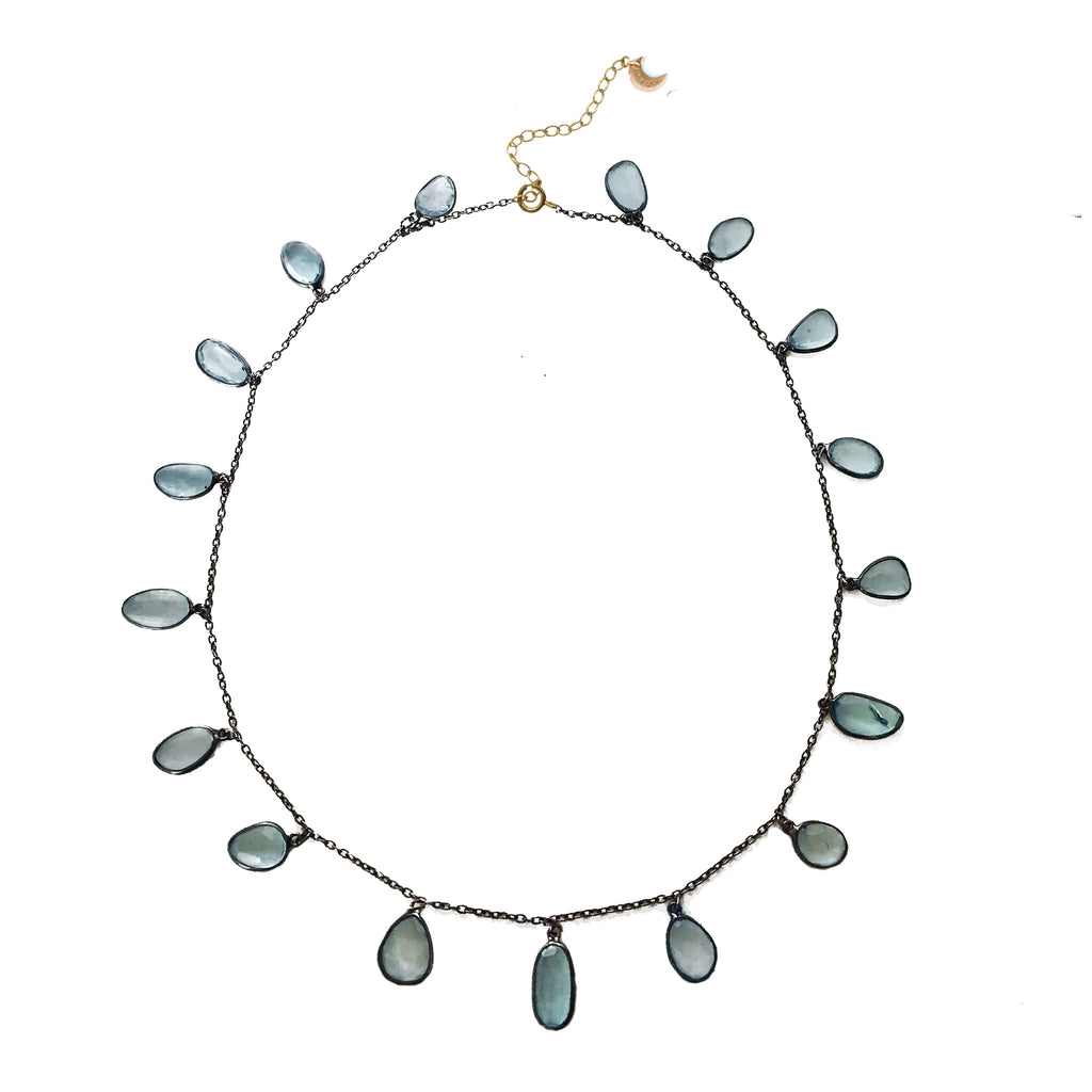 Blue Topaz Drop Necklace, Necklaces - Luna Lili Jewelry