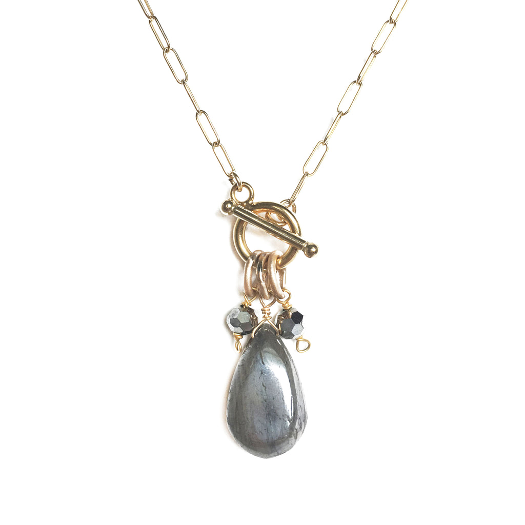 Toggle Labradorite 3 Charm Necklace, Necklace - Luna Lili Jewelry