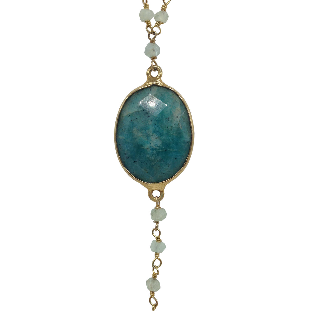Amazonite & Aquamarine Lariat Necklace, Necklaces - Luna Lili Jewelry