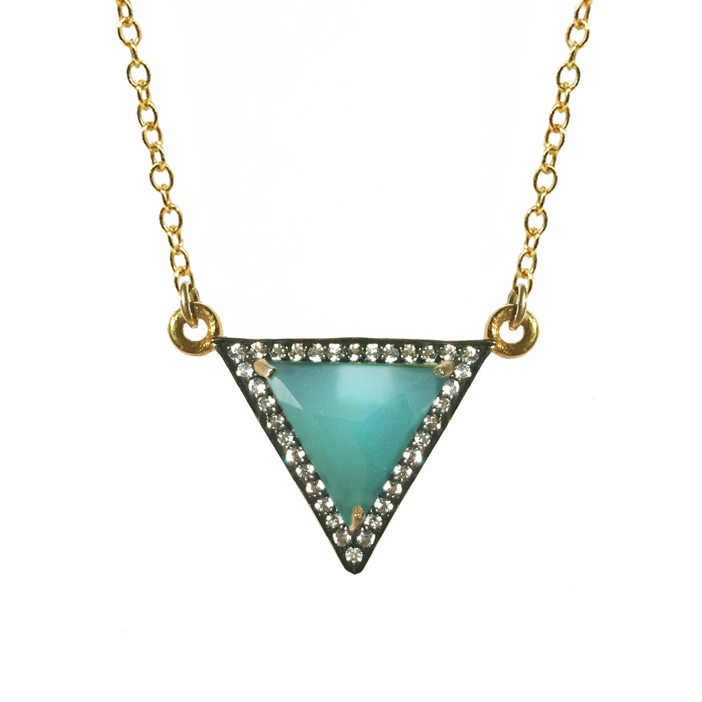 White Topaz  Blue-Green Chalcedony Triangle Necklace, Necklaces - Luna Lili Jewelry