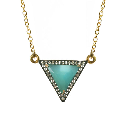White Topaz  Turquoise Triangle Necklace