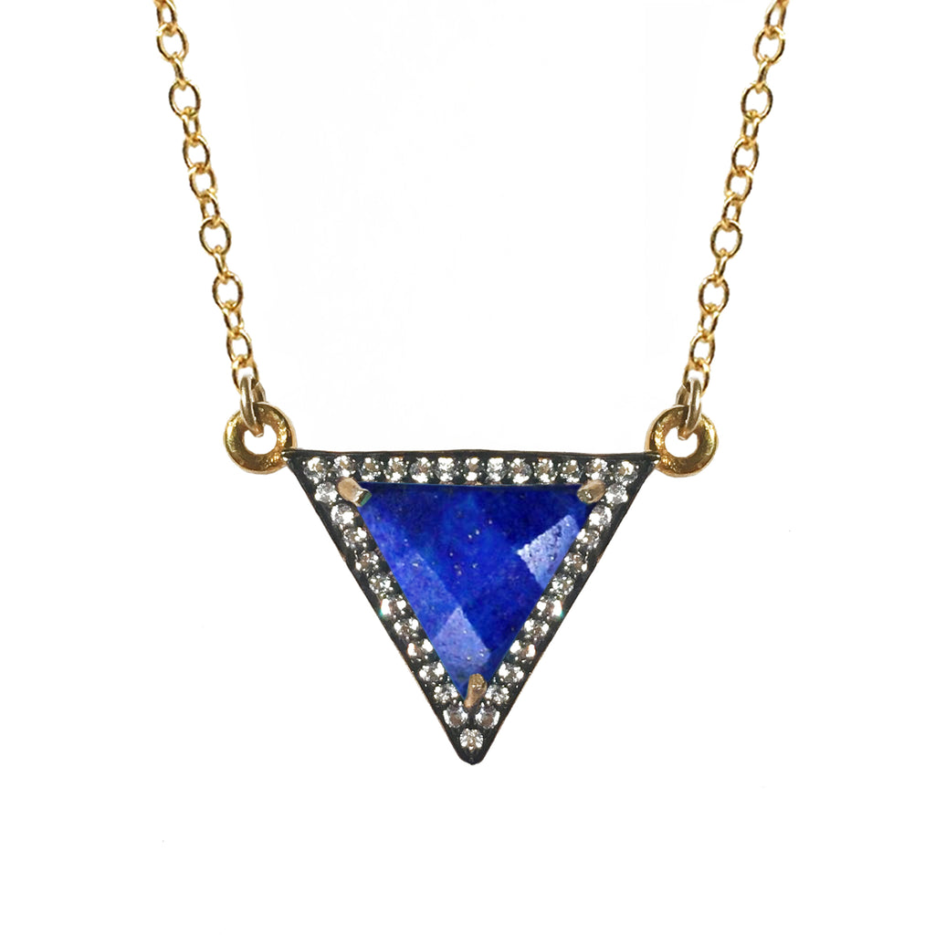 White Topaz Lapis Triangle Necklace, Necklaces - Luna Lili Jewelry