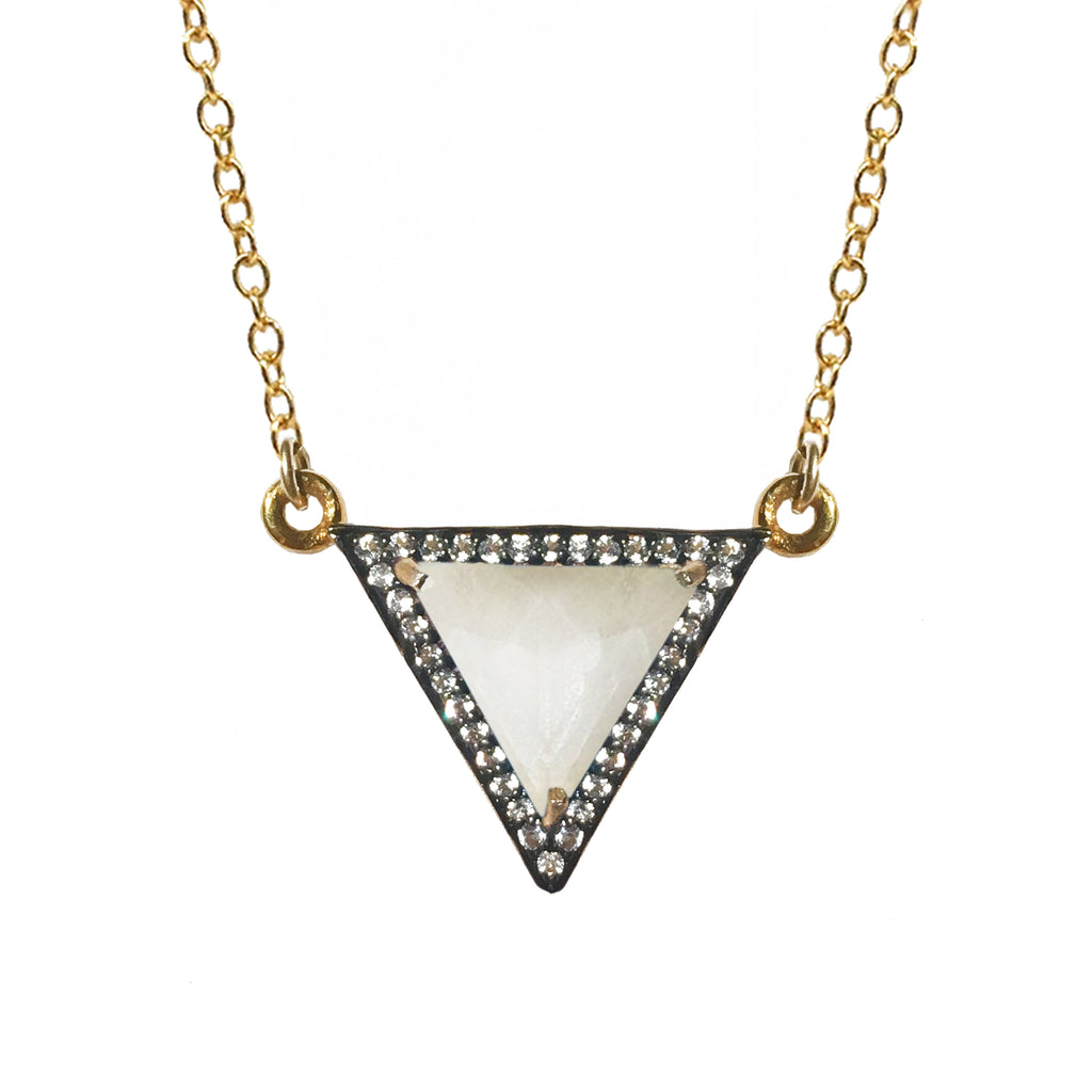 White Topaz Mother of Pearl Triangle Necklace, Necklaces - Luna Lili Jewelry