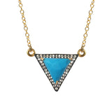 White Topaz  Turquoise Triangle Necklace, Necklaces - Luna Lili Jewelry