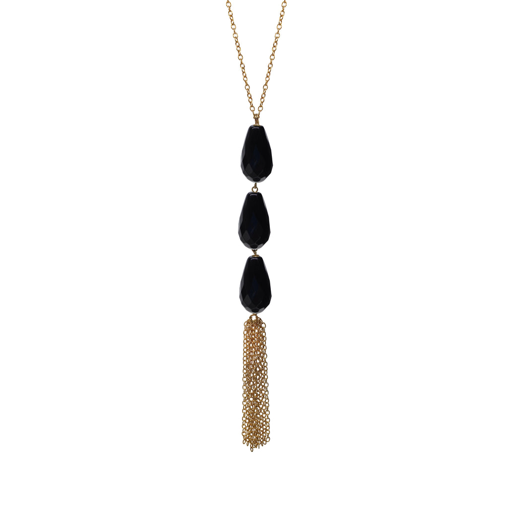 Black Onyx Briolette Tassel Necklace, Necklaces - Luna Lili Jewelry
