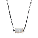 Natural Pearl in Oxidized Bezel Setting, Necklaces - Luna Lili Jewelry
