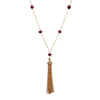 Ruby Tassel Necklace, Necklaces - Luna Lili Jewelry