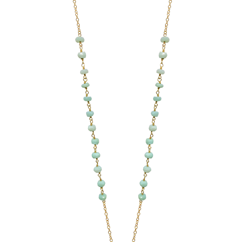 Round Amazonite Tassel Necklace, Necklaces - Luna Lili Jewelry