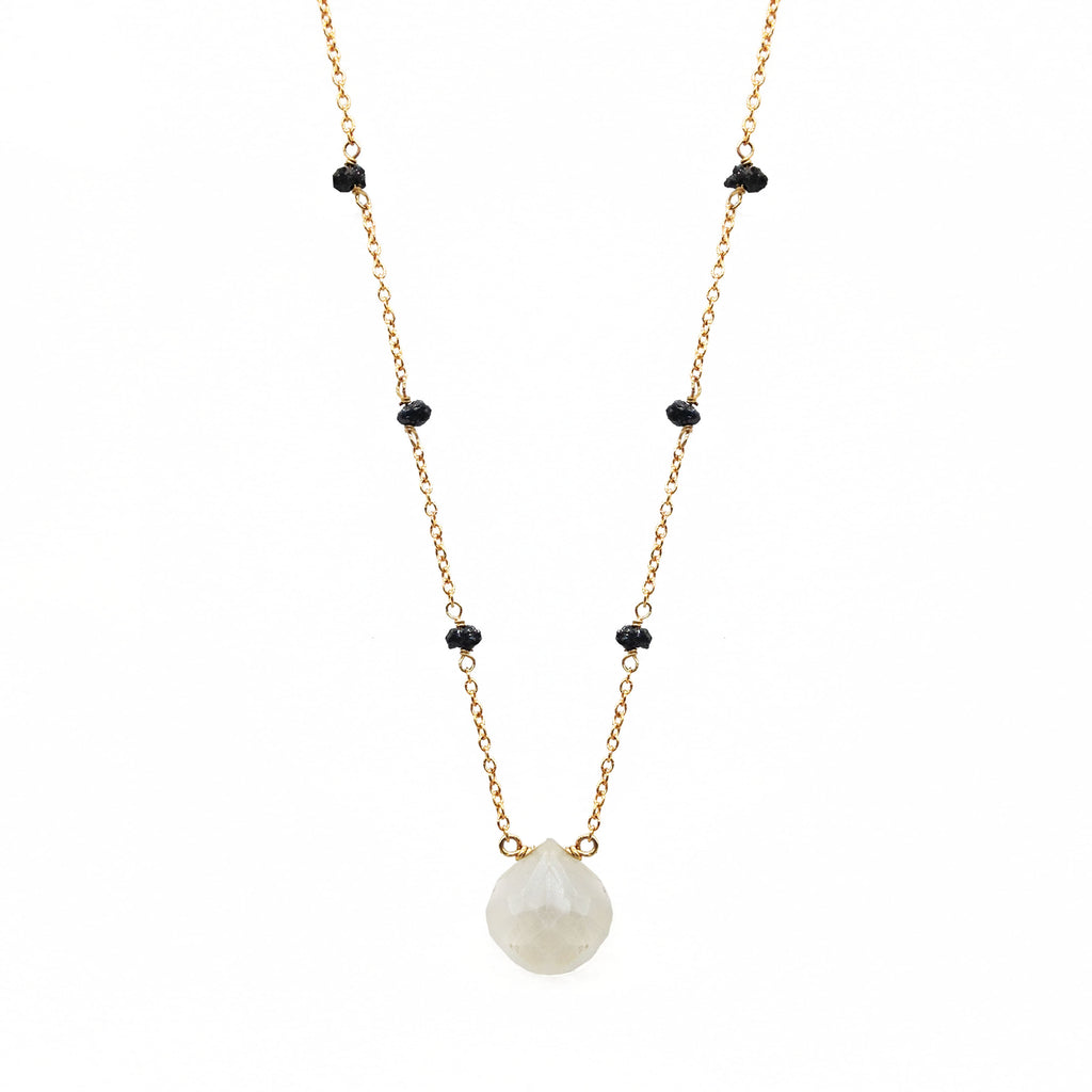 African Gray Chalcedony with Diamonds, Necklaces - Luna Lili Jewelry