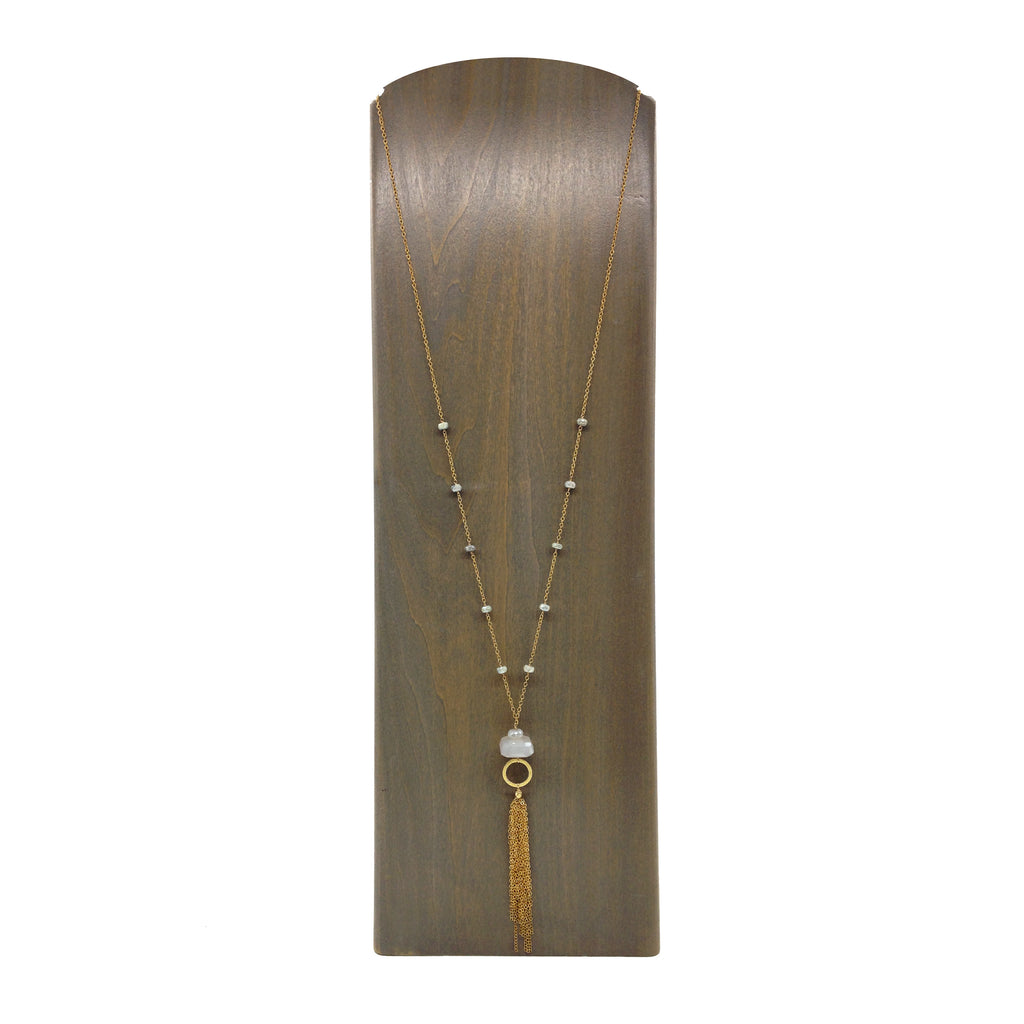 Moonstone and Silverite Tassel Necklace, Necklaces - Luna Lili Jewelry
