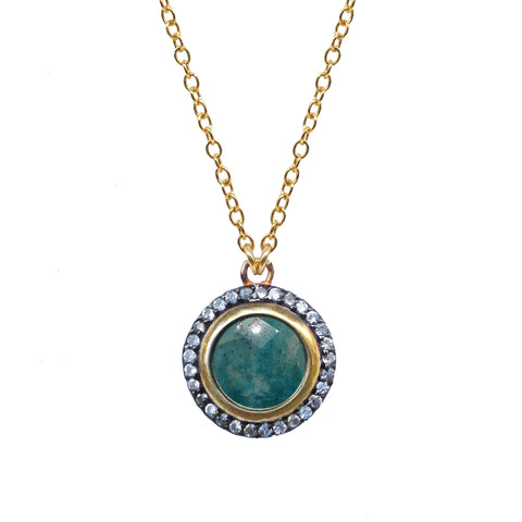 Seafoam Chalcedony Circle Charm Necklace
