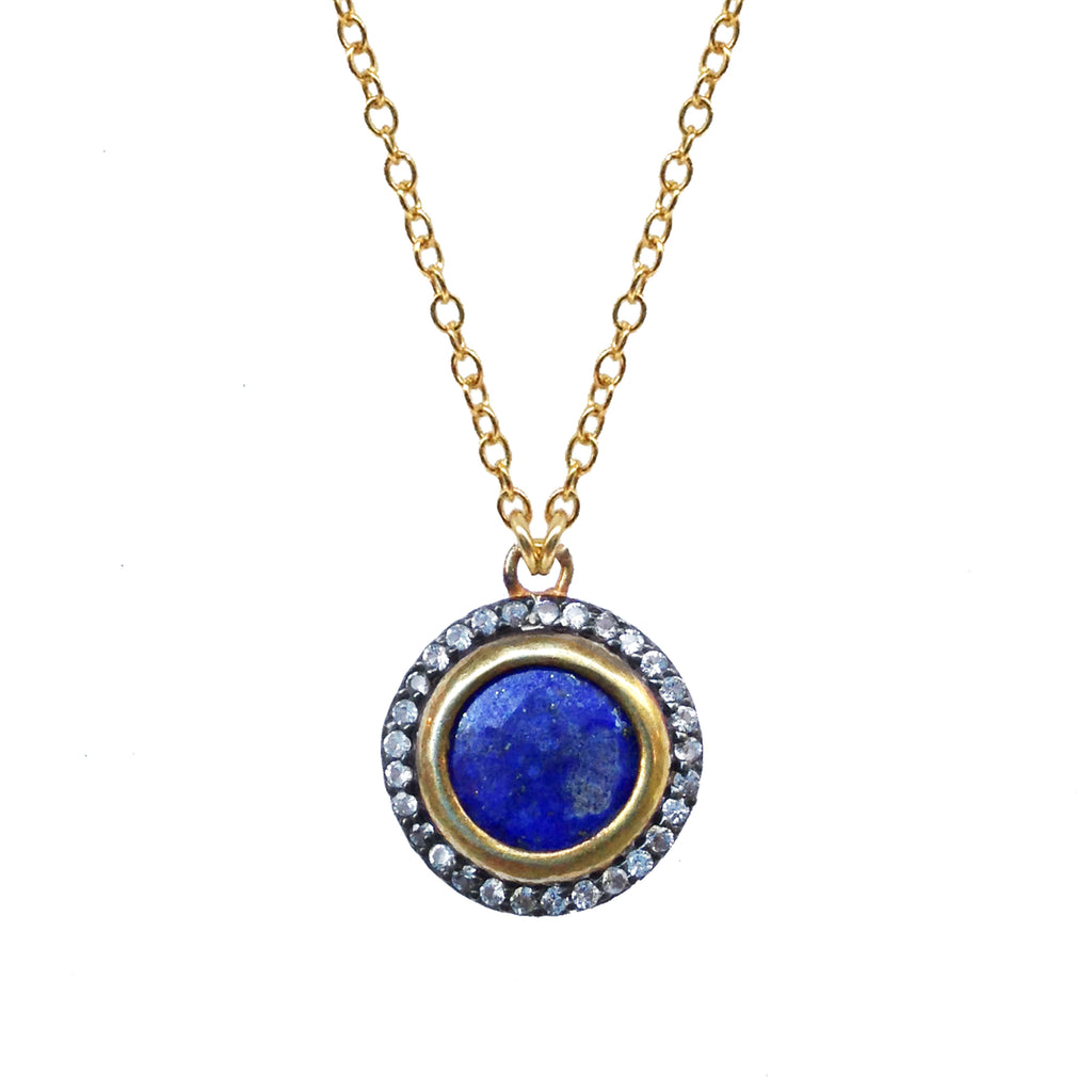 Lapis White Topaz Pendant, Necklaces - Luna Lili Jewelry