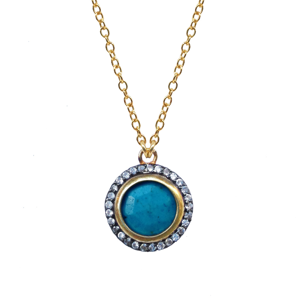 Turquoise White Topaz Pendant, Necklaces - Luna Lili Jewelry