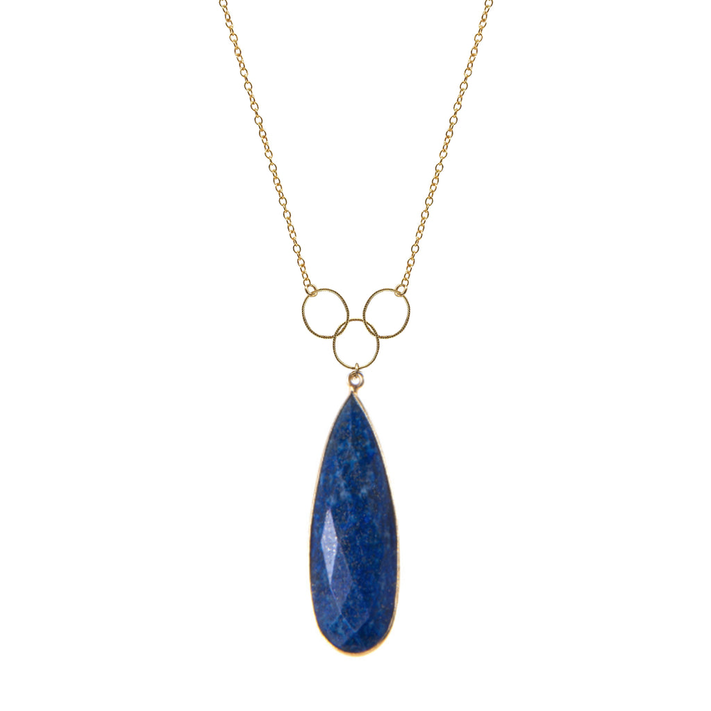 Lapis Bezel Triple Loop Necklace, Necklaces - Luna Lili Jewelry