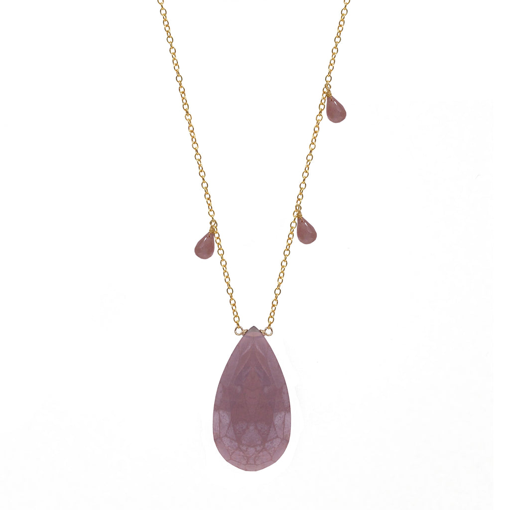 Pink Moonstone Teadrop Briolette Necklace, Necklaces - Luna Lili Jewelry
