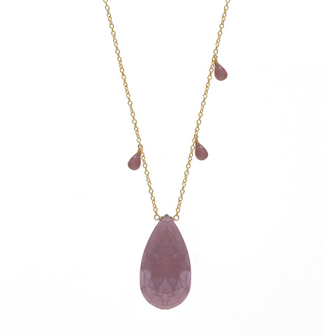 Pink Moonstone Teardrop Accent Necklace with Briolettes