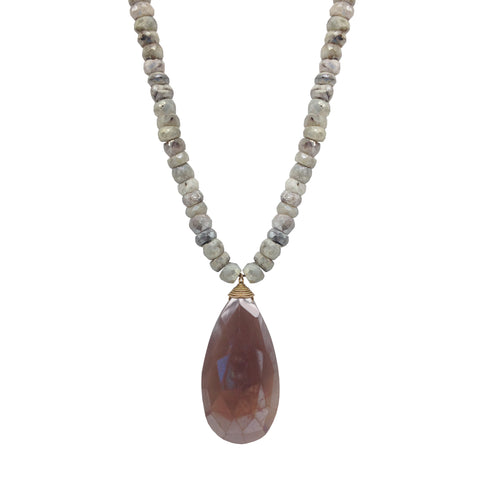 Pink Moonstone Teardrop White Topaz Accent Necklace