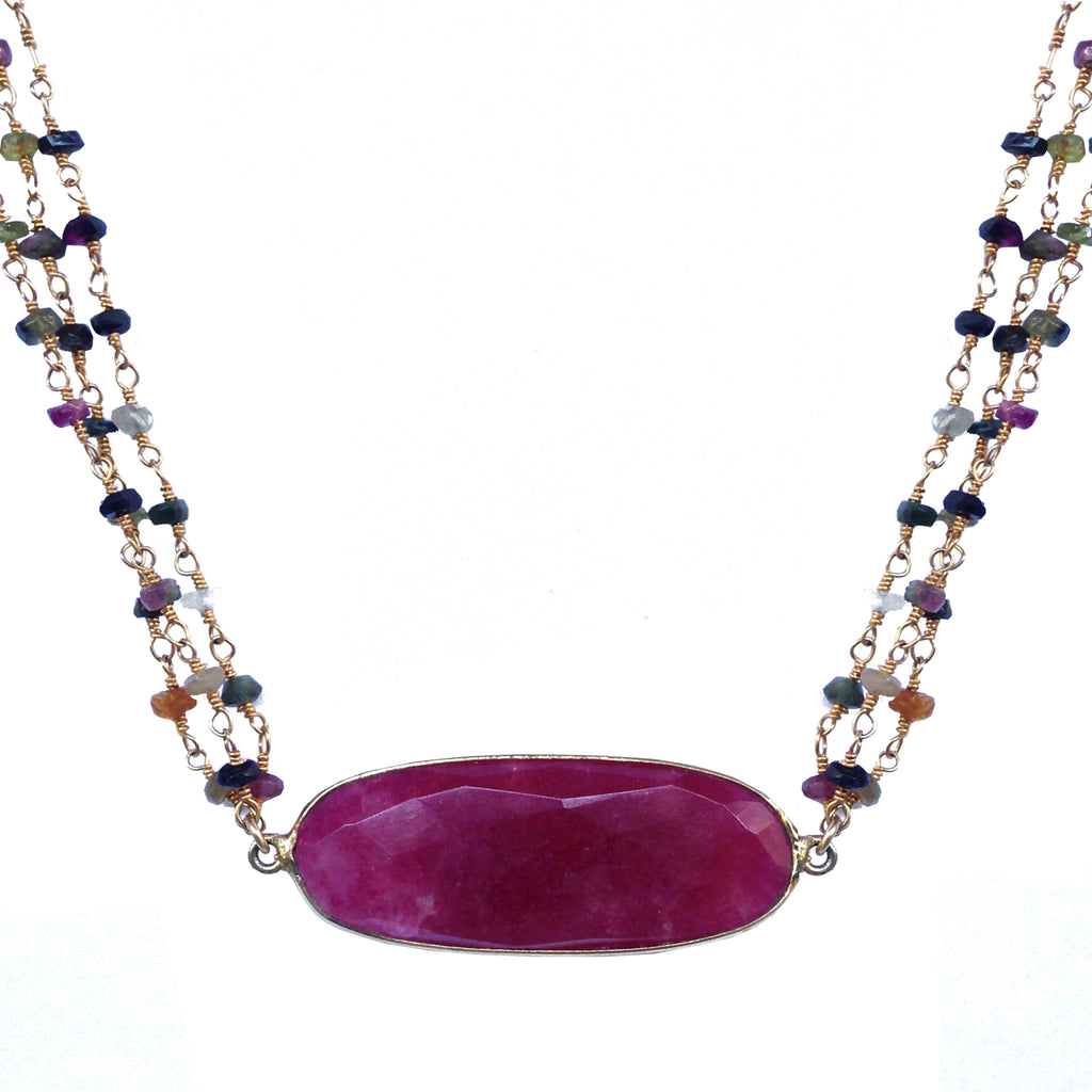 Ruby Multicolored Tourmaline Necklace, Necklaces - Luna Lili Jewelry
