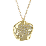 Cubic Zirconia Disc Charm, Necklace - Luna Lili Jewelry