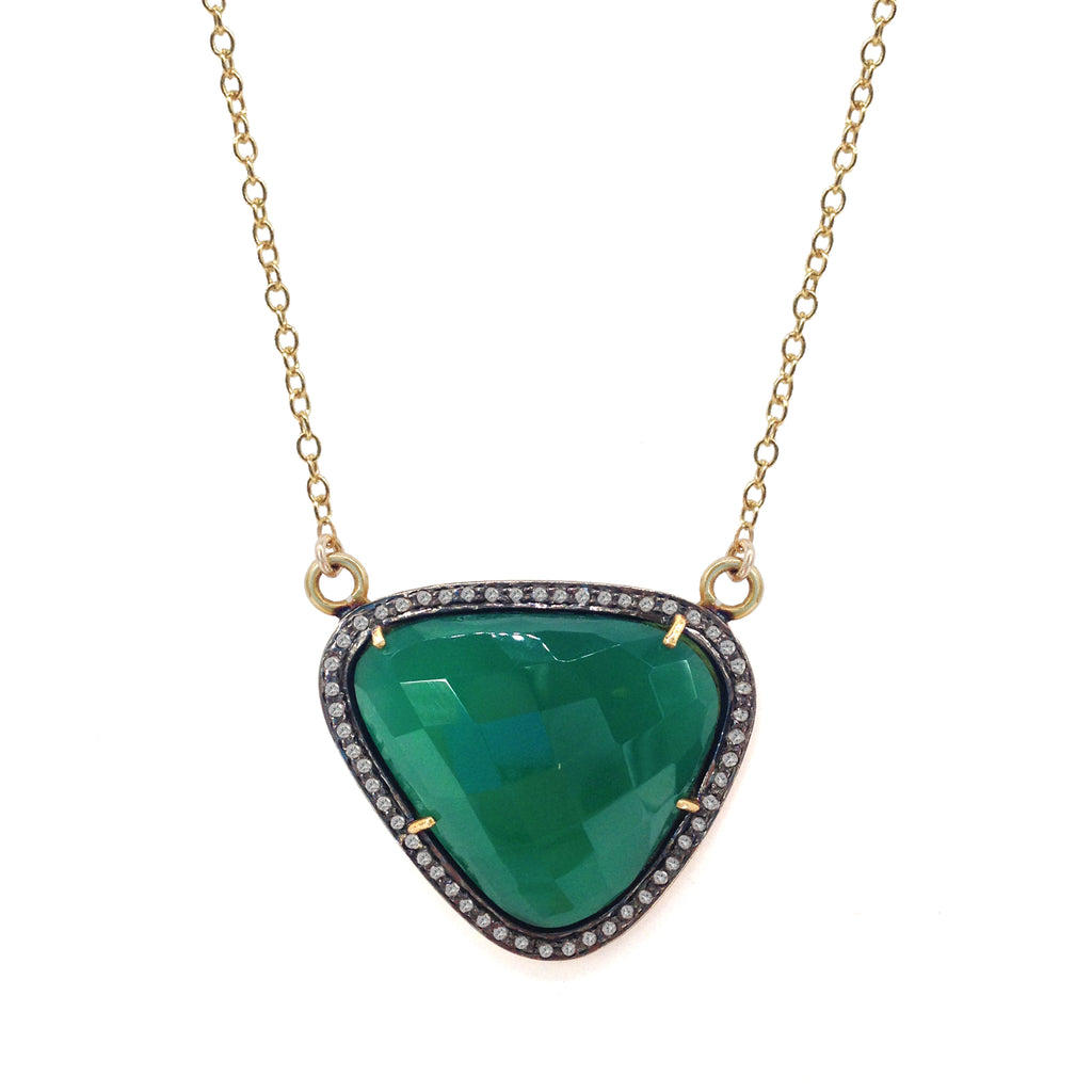 Green Jade Diamond Necklace, Necklaces - Luna Lili Jewelry