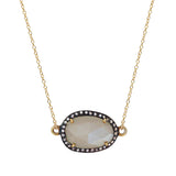Moonstone White Topaz Necklace, Necklaces - Luna Lili Jewelry