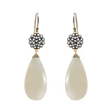 Teardrop White Chalcedony Floral Earrings, Earrings - Luna Lili Jewelry
