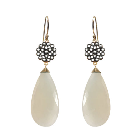 White ChalcedonyCircle Earrings