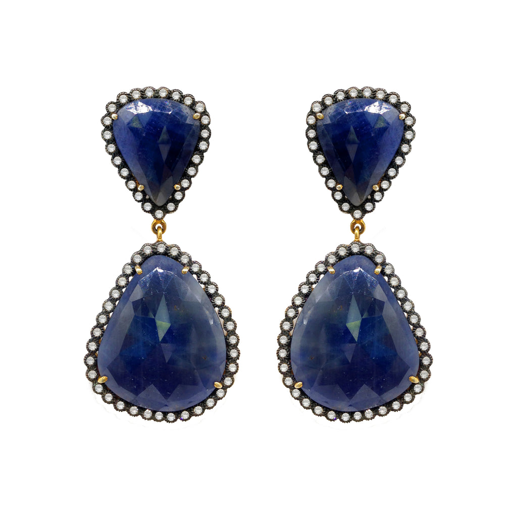Sapphire and White Topaz  Earrings, Earrings - Luna Lili Jewelry