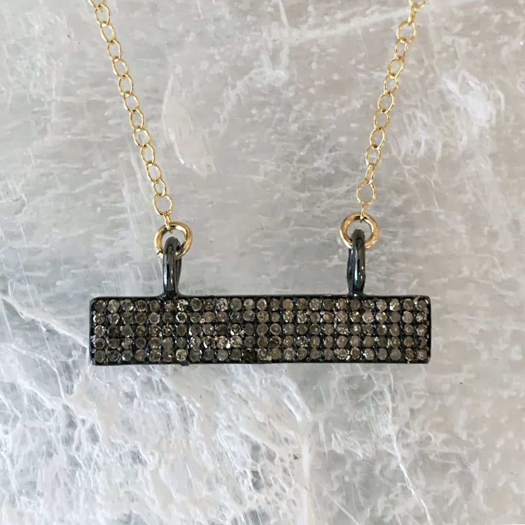 Champagne Diamond Bar Necklace