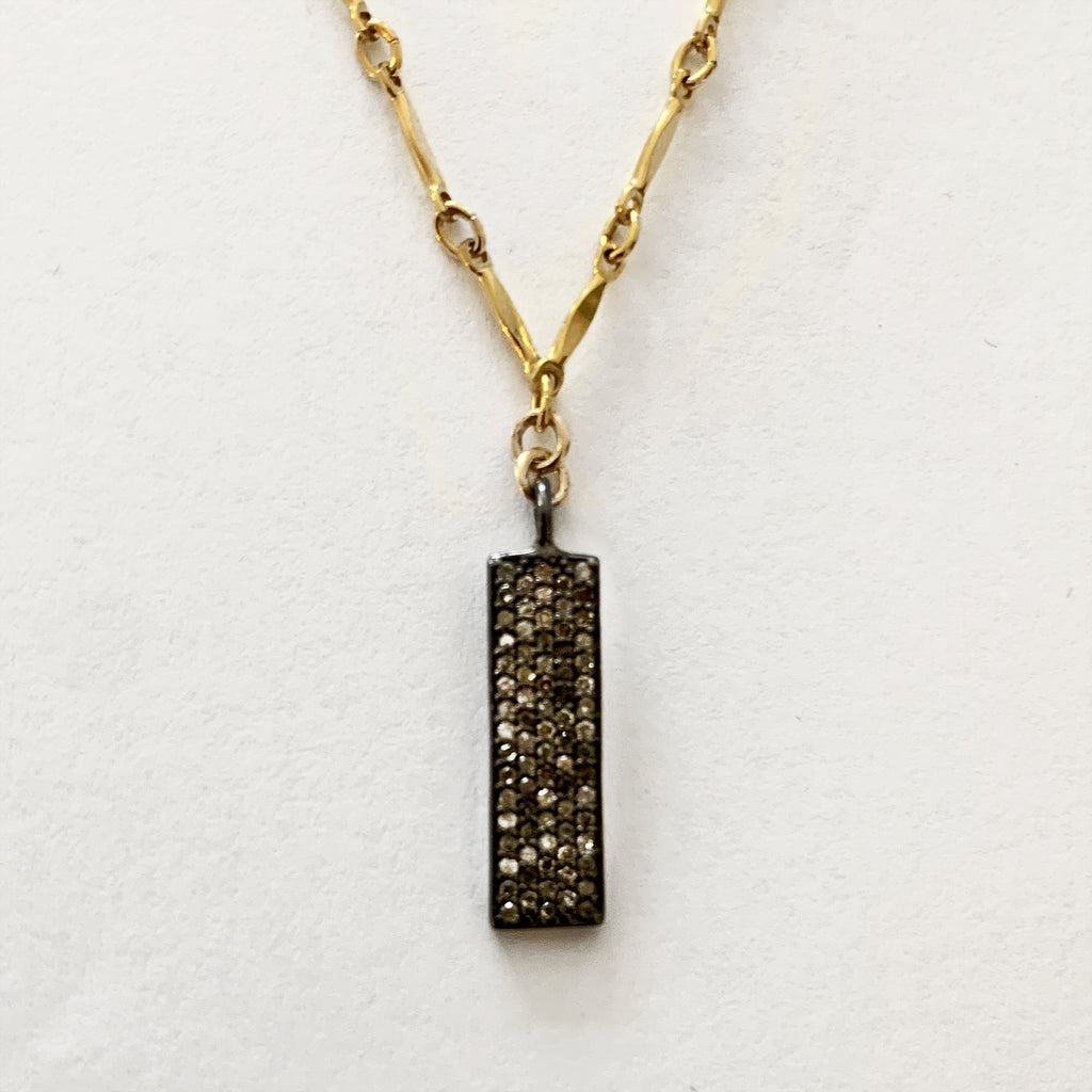 Champagne Diamond Vertical Bar Necklace