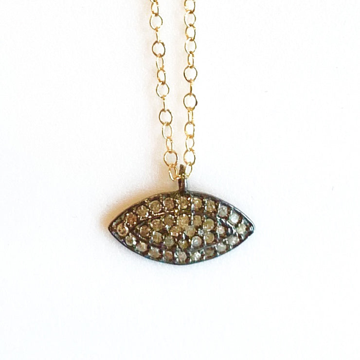 Champagne Diamond Evil Eye Necklace