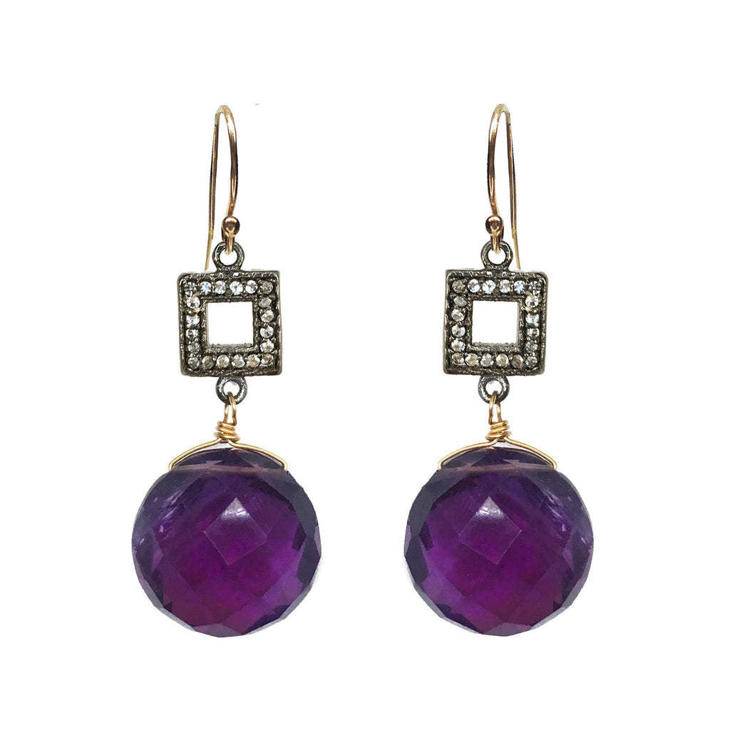 Royal Amethyst Earrings, Earrings - Luna Lili Jewelry