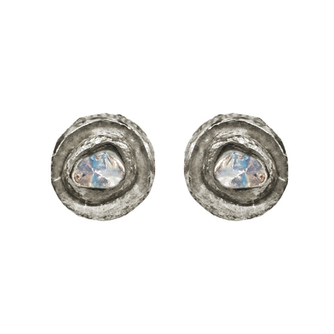 Large Labradorite & Diamond Stud Earrings