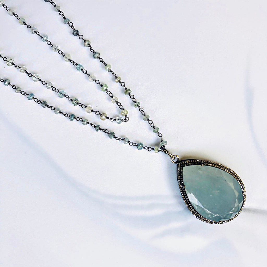 Moss Aquamarine and Double Row Pave Diamond and Diamond Bale Necklace, Necklaces - Luna Lili Jewelry