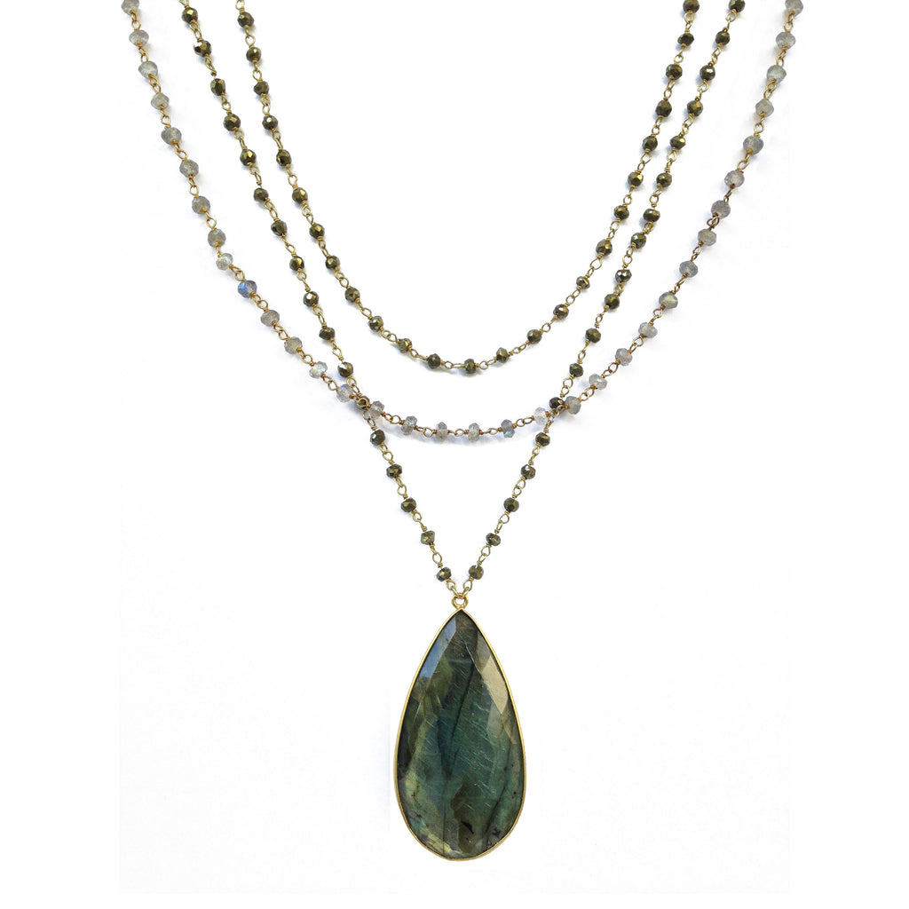 Labradorite Triple Chain Necklace - Luna Lili Jewelry