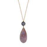 Pink Moonstone Teardrop White Topaz Accent Necklace, Necklaces - Luna Lili Jewelry