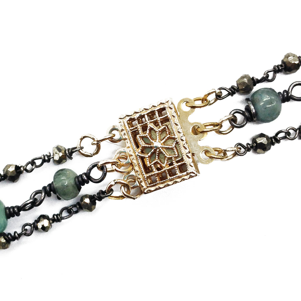 Moss Aquamarine Diamond Necklace, Necklaces - Luna Lili Jewelry