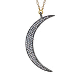 White Topaz Moon Necklace, Necklaces - Luna Lili Jewelry