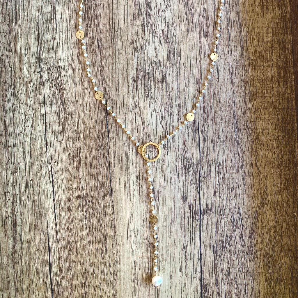 Lariat with Natural Pearls and Gold Discs, Necklace - Luna Lili Jewelry