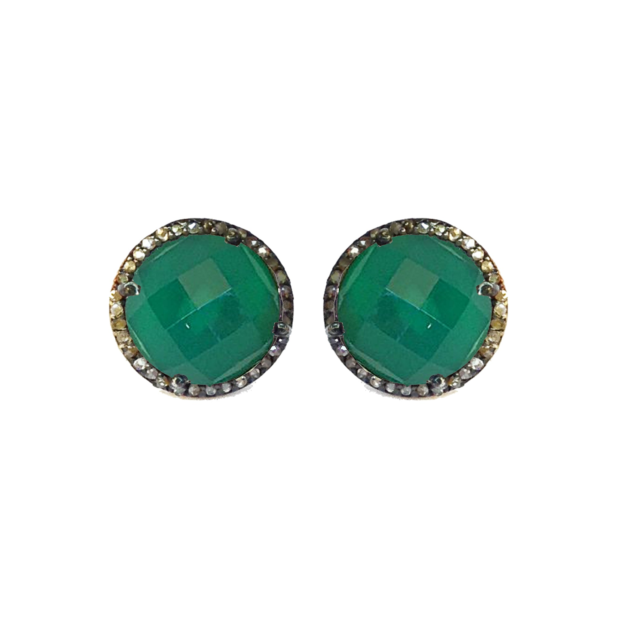 Diamond Green Onyx Studs