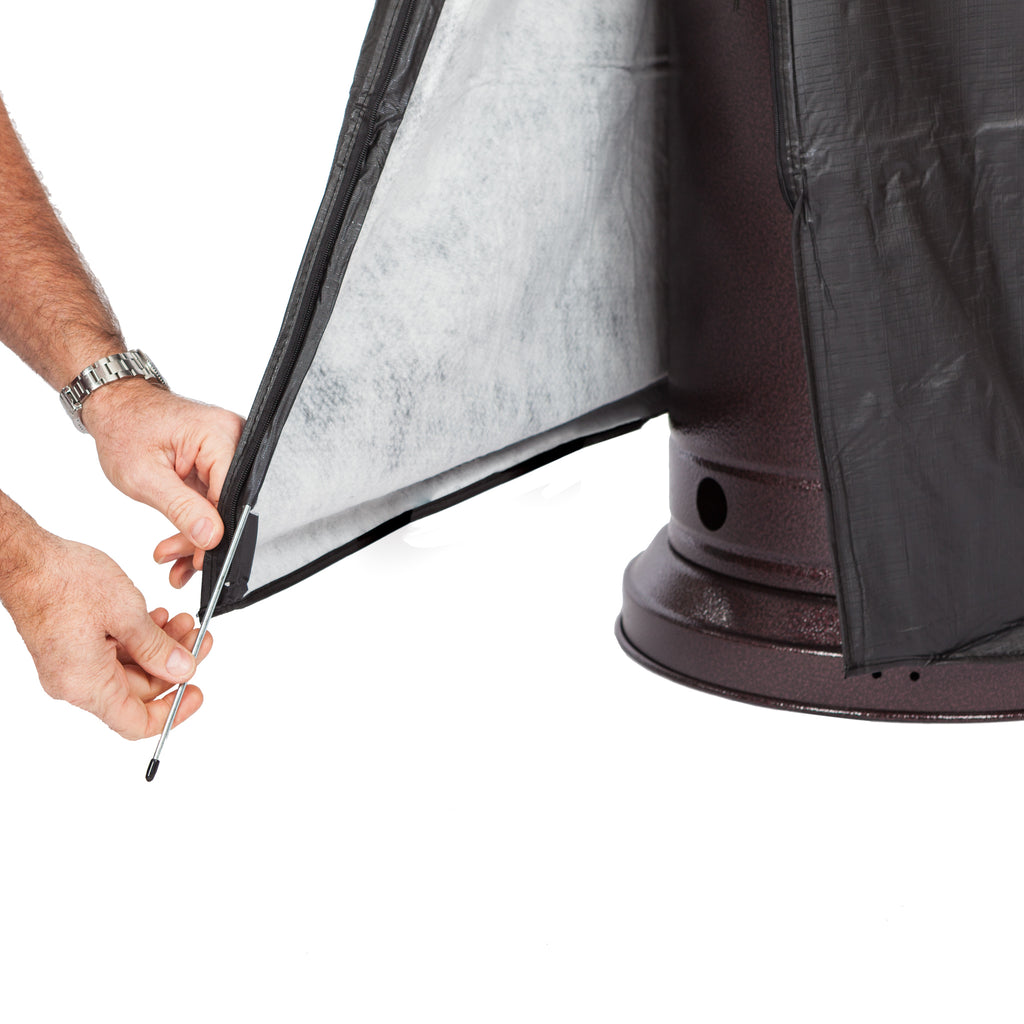 "Full-Length Outdoor Vinyl Cover for Fire Sense LPG Patio Heaters with 31-33"" Round Reflectors"