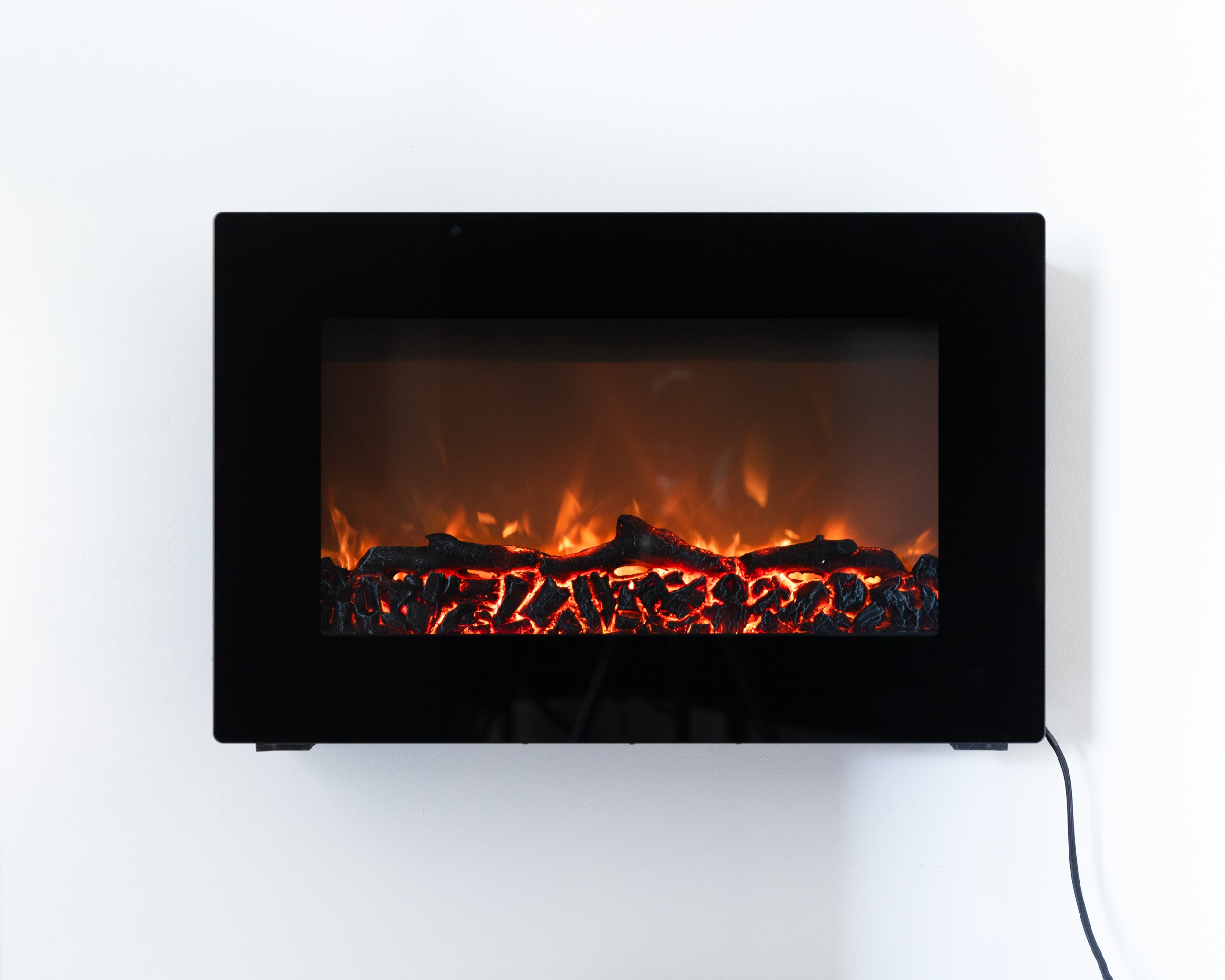 Black Wall Mounted Electric Fireplace Fire Sense