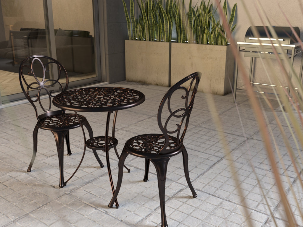 Arria Antique Bronze Cast Aluminum 3pc Bistro Set