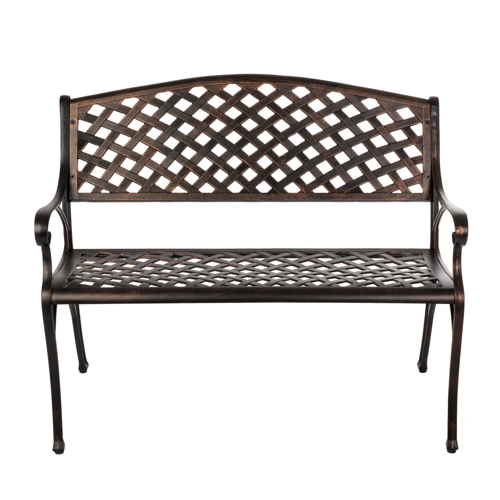Antique Bronze Cast Aluminum Patio Bench