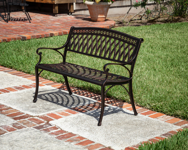 Simone Cast Aluminum Patio Bench